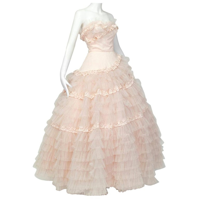 Will Steinman Pink Strapless Asymmetrical Lace Wedding Ball Gown - Small, 1950s For Sale