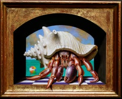 BEACH HOUSE, hyperrealistic, portrait of crab, conch shell, playful background