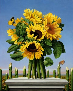 GIRASOL, vivid colors, photo-realism, bright sunflowers, playful still life
