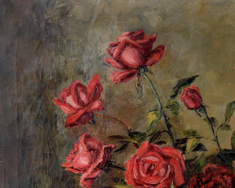 The Pirates of Penzance - Roses and Books - Still Life by Willie Kay Fall - Painting by Willa Kay Fall