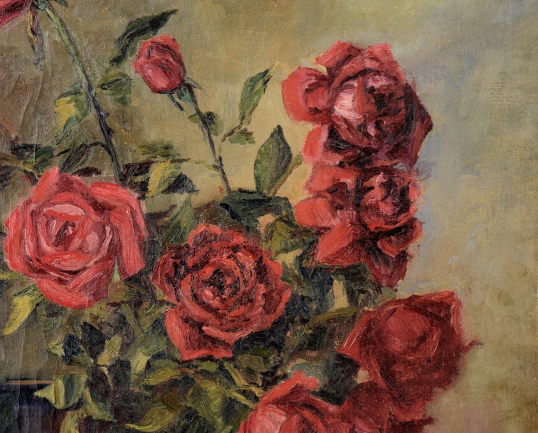 The Pirates of Penzance - Roses and Books - Still Life by Willie Kay Fall - American Impressionist Painting by Willa Kay Fall