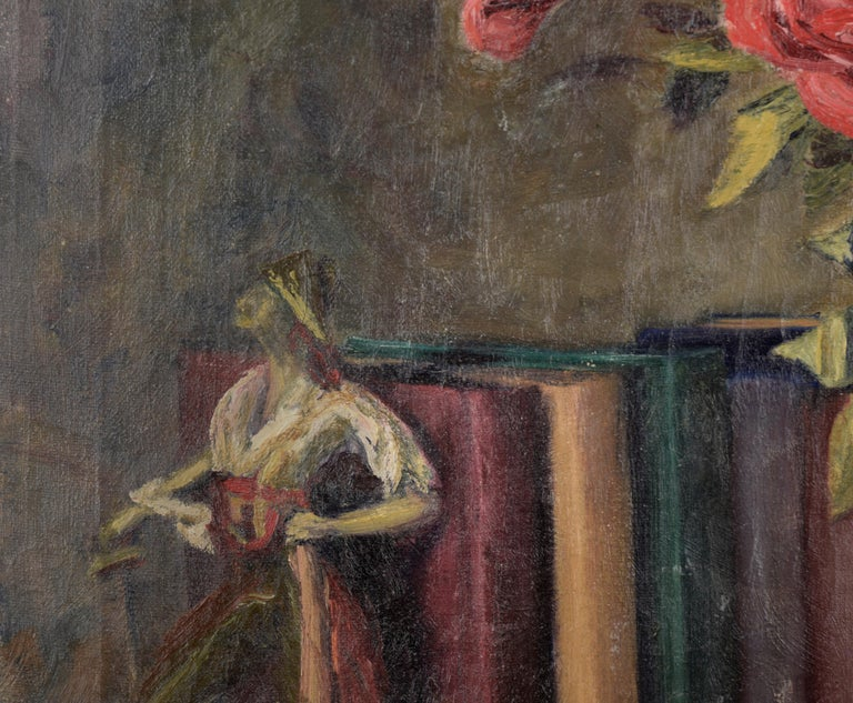 The Pirates of Penzance - Roses and Books - Still Life by Willie Kay Fall - Black Still-Life Painting by Willa Kay Fall