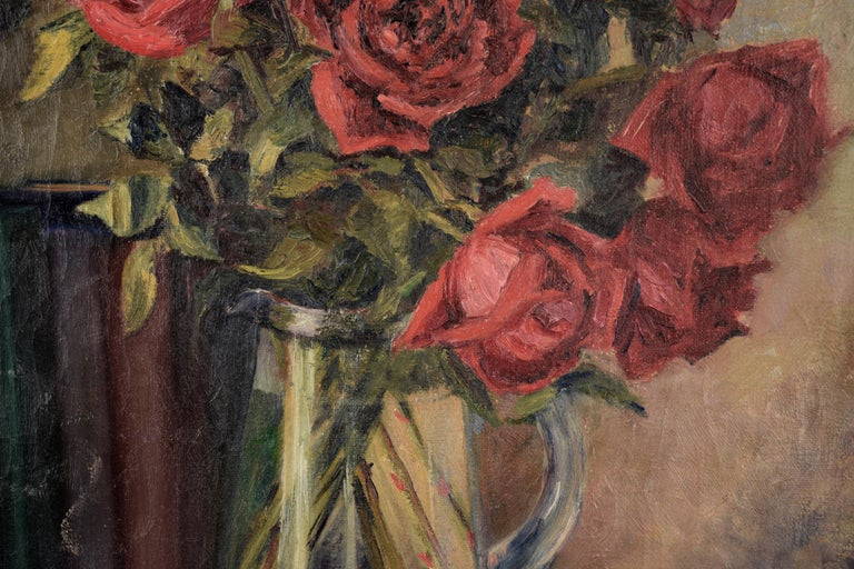 Detailed still life of roses, books, a statue from The Pirates of Penzance, and an ash tray by Texas artist Willa (Willie) Kay Fall (1891-1976). Signed in the lower right corner. Image 36