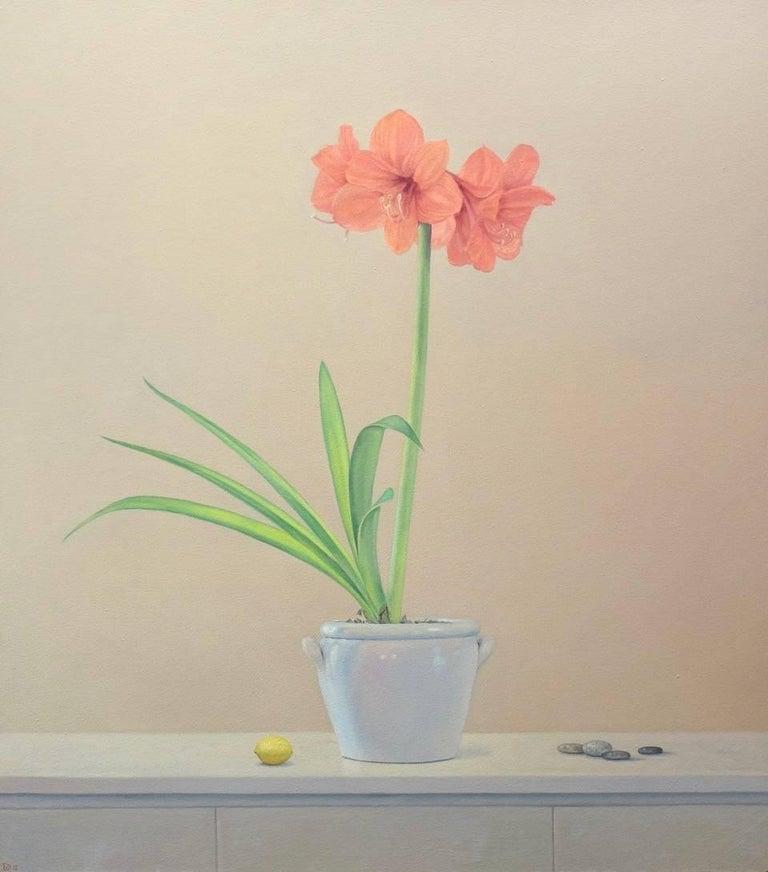 Willard Dixon Still-Life Painting - Amaryllis with Lemon / oil on canvas