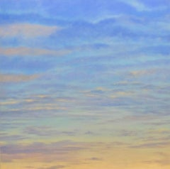 Banded Sky, oil painting sunset, clouds, serene