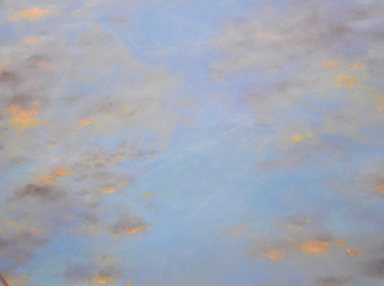 Banked Fire - circular sky oil painting - American Realist Painting by Willard Dixon