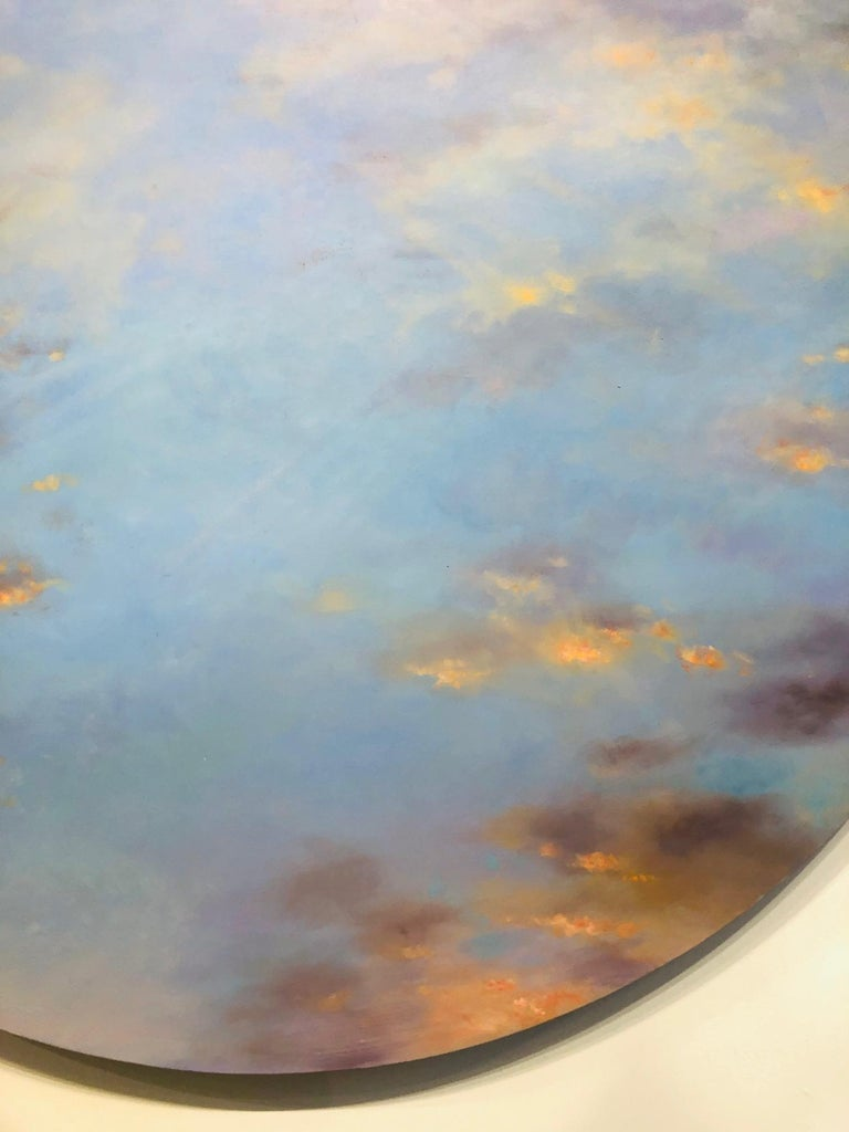Banked Fire - circular sky oil painting For Sale 1