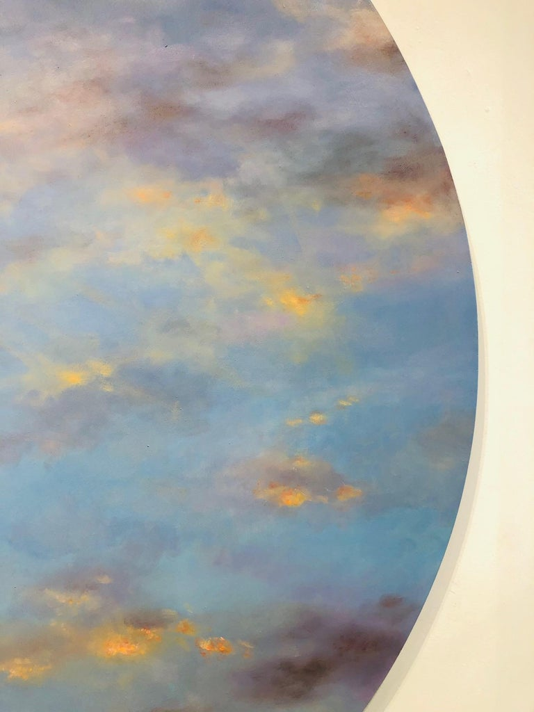 Banked Fire - circular sky oil painting For Sale 2