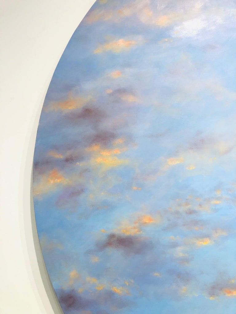 Banked Fire - circular sky oil painting For Sale 4