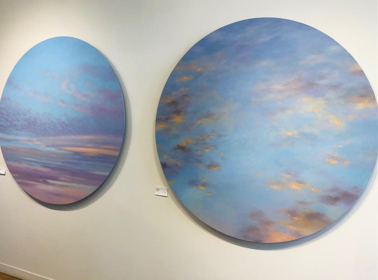 Banked Fire - circular sky oil painting For Sale 5