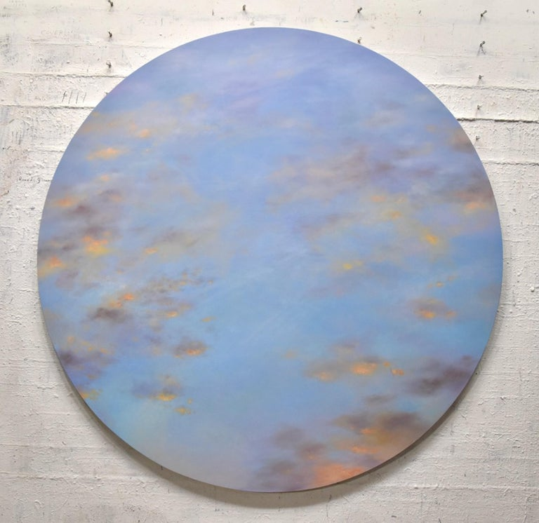 Banked Fire - circular sky oil painting - Painting by Willard Dixon
