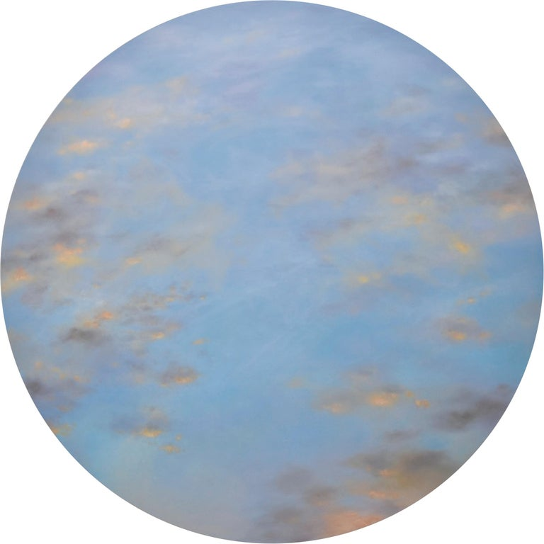 Willard Dixon Landscape Painting - Banked Fire - circular sky oil painting