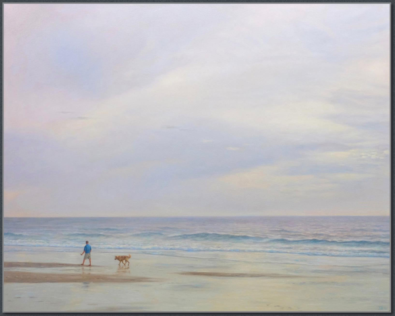 Beach Walk / American Realism figure with dog on beach at sunset