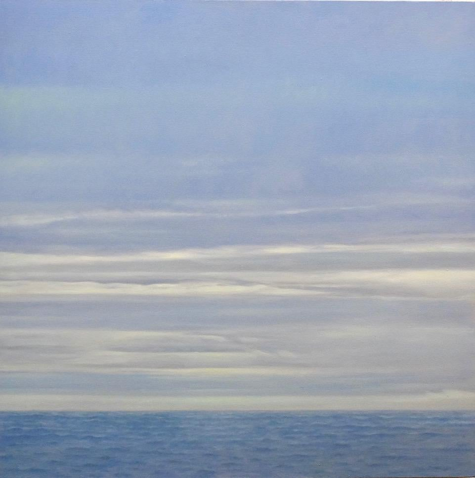 Bright Horizon / oil on canvas, abstract, realism sky, water,  blue fog & clouds