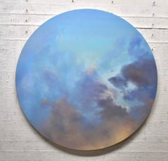 Dramatic Sky - circular sky oil painting