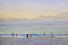 EVENING BEACH - figures with coastal ocean early evening - sunset