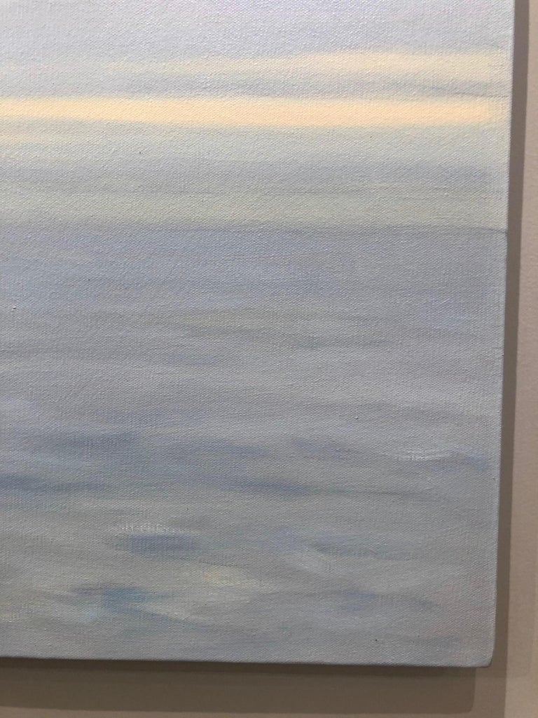Unique contemporary 'Grey Ocean' depicts a provocative grey sky with a blue, yellow and white sea. Choppy waters beneath a sky alive with filtered early evening light and unknown impending weather from American Realist Willard Dixon.  The unique