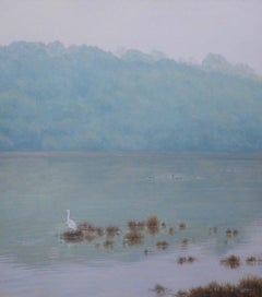Landscape with Egret - realism oil on canvas paitning - bird nature