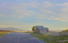 Mendocino Shacks / Pacific Ocean California scene with barn - oil on canvas