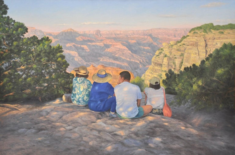 Willard Dixon Landscape Painting - On the Edge  / Grand Canyon landscape with figures