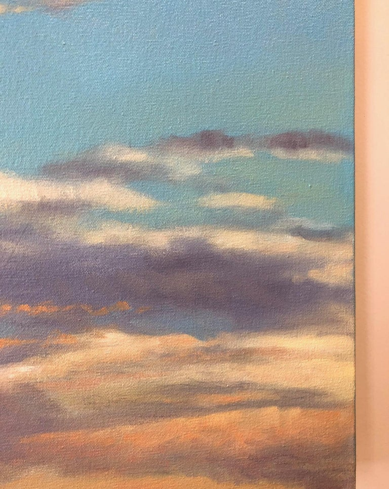 Orange Clouds - early evening light, abstract realism - Blue Still-Life Painting by Willard Dixon