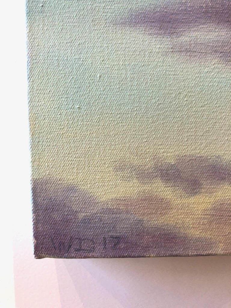 Dramatic and contemporary sky-scpe featuring the natural atmospheric colors of the sky — blue and white with purple and glowing orange light. The painting is like a window to a wide open brilliant sky. 47 x 52 inches.   One of America's finest