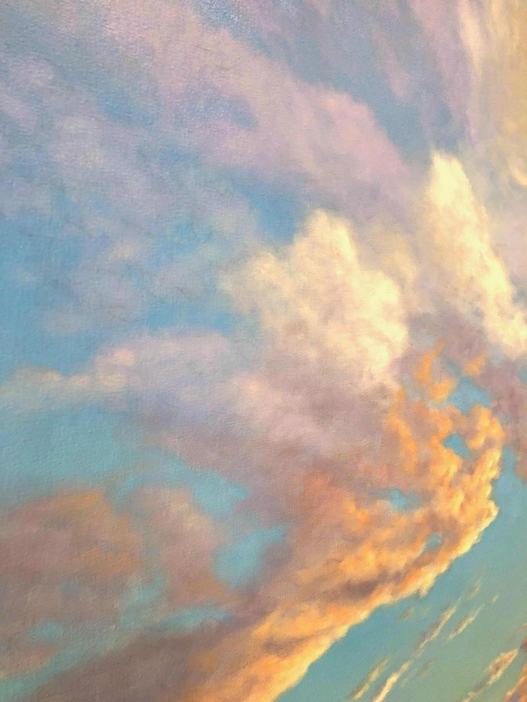 Orange Clouds - early evening light, abstract realism For Sale 1
