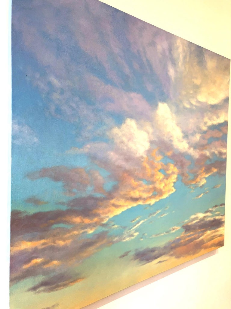 Orange Clouds - early evening light, abstract realism For Sale 2