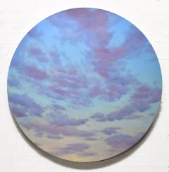 Red Clouds - circular sky oil painting