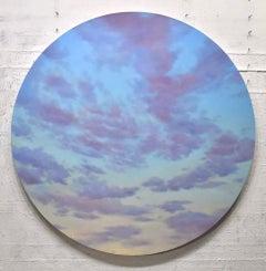 Reddish Clouds - circular sky oil painting