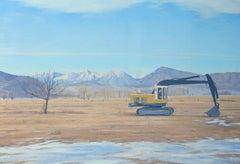 SIERRA SHOVEL- oil on canvas, tractor on horizon. Construction