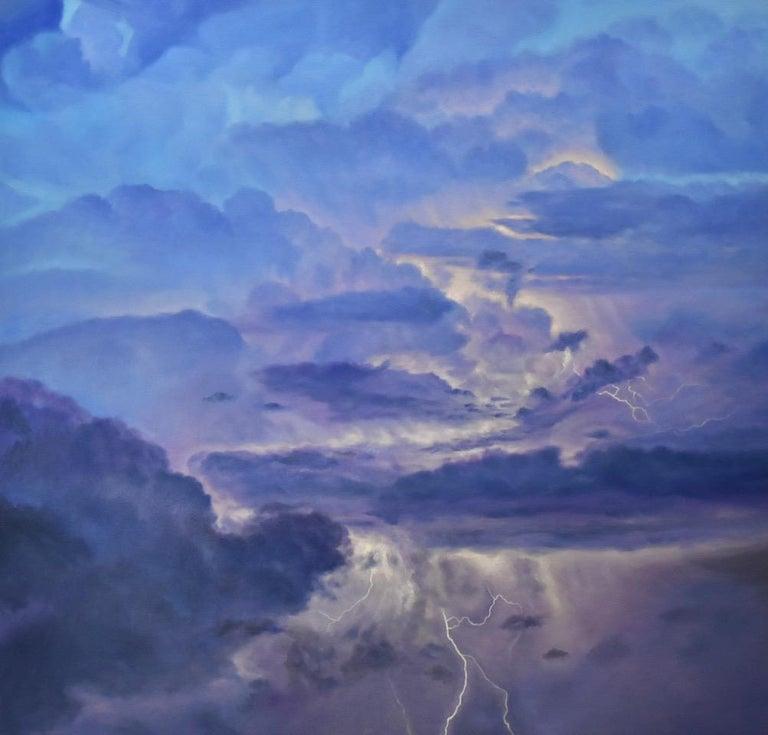 Willard Dixon Landscape Painting - Storm Source / lightning sky
