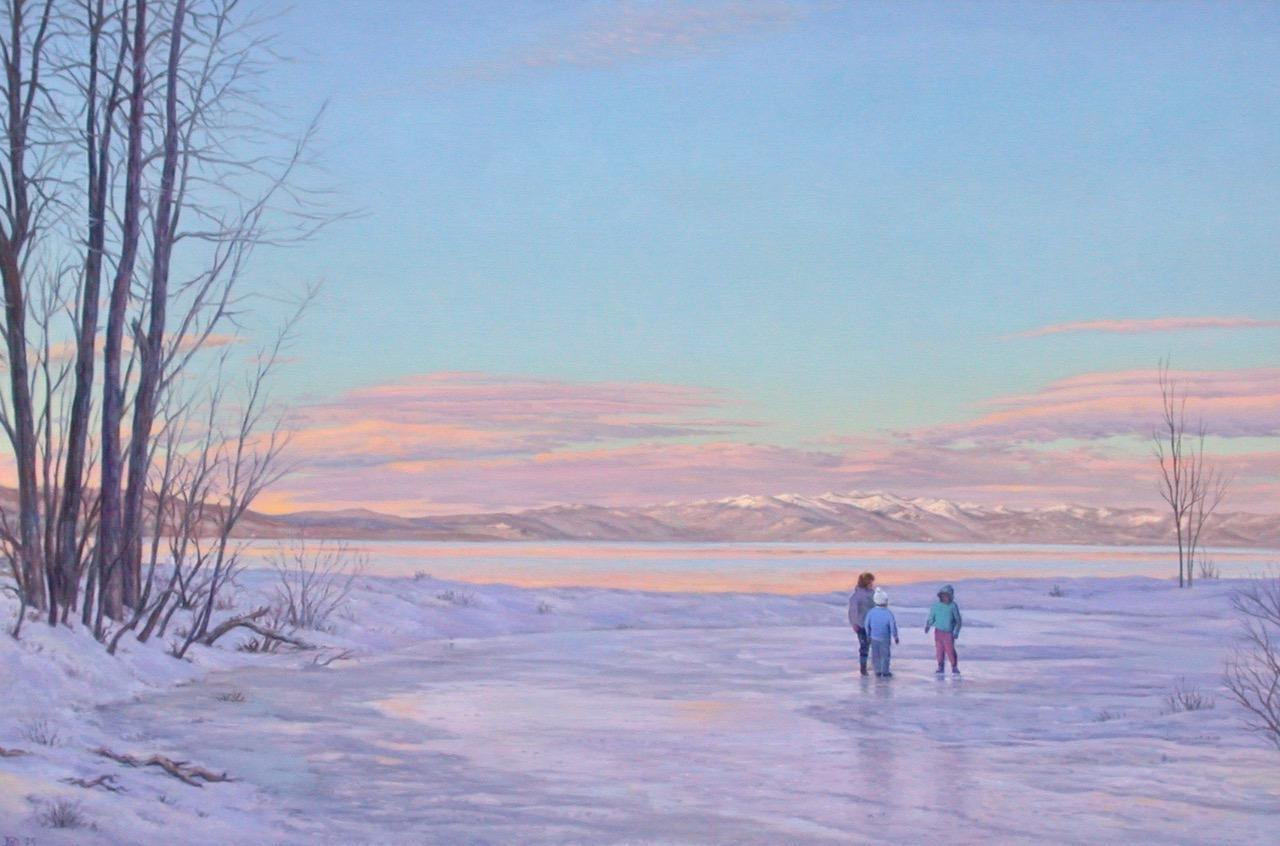 Tahoe Evening I / American realism lake scene with figures