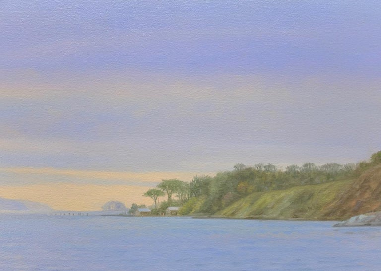 Tamales Bay Evening / Boats on the Bay at sunset - peaceful - Painting by Willard Dixon