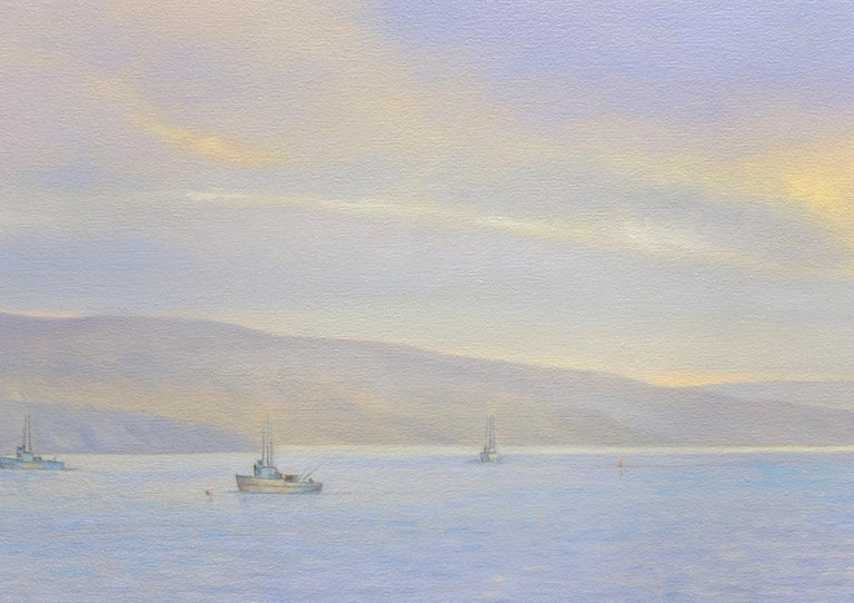 Tamales Bay Evening / Boats on the Bay at sunset - peaceful - American Realist Painting by Willard Dixon