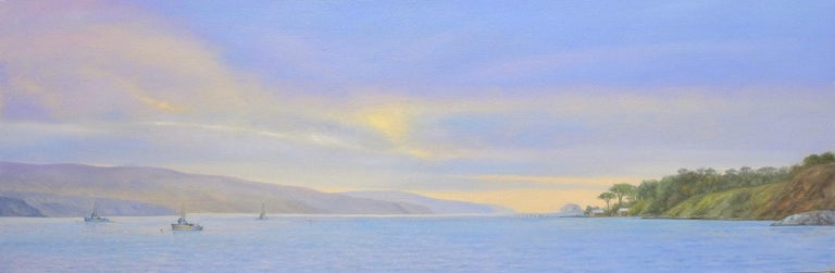 Willard Dixon Still-Life Painting - Tamales Bay Evening / Boats on the Bay at sunset - peaceful