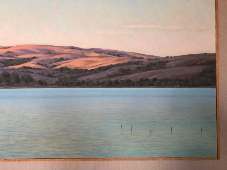 Tamales Bay Evening / oil on canvas - Gray Still-Life Painting by Willard Dixon
