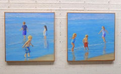 TEAM No. 1 & II / two 30 x 30 inch paintings - children beach play (diptych)