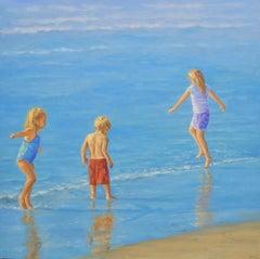 TEAM No. 2 / 30 x 30 inch children beach play in sunlight