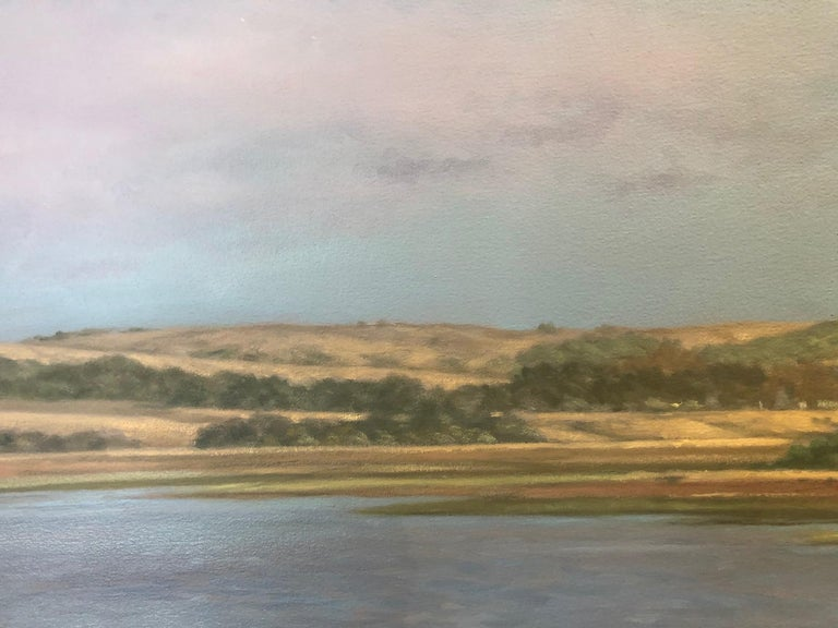 Tomales Bay scene featuring western Bay Area hills where it meets the Bay in a contemporary horizontal landscape from celebrated American realist artist Willard Dixon, who has captured the undeniable beauty of the west for the past 35 years.