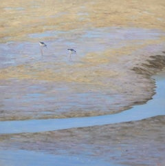 Two Shore Birds - realism oil on canvas painting - bird nature