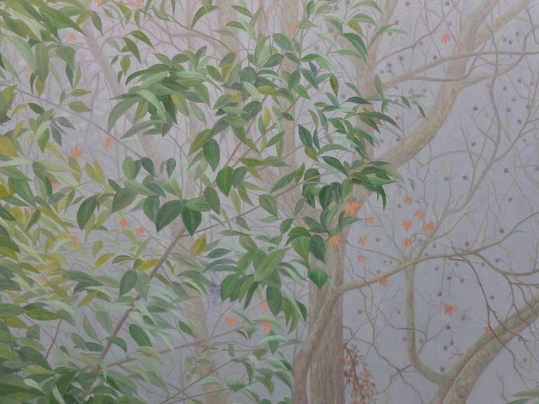 One of our finest living contemporary American Realist artists, Willard Dixon, has painted 'View From the Window; featuring green leaves, grey branches, purple lilac and orange turning leaves; as seen through heavy fog outside of the artist's