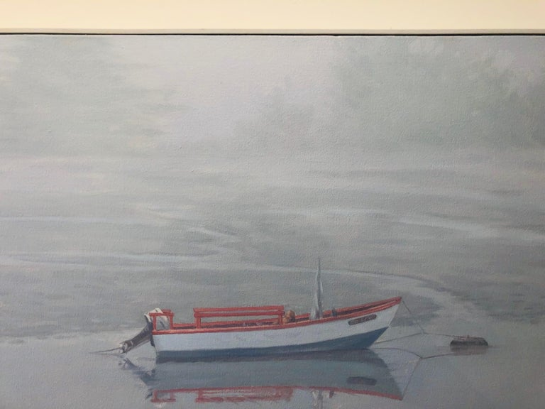 Waiting for Sophia / gentle soft cool blue grey scene with boat in fog  For Sale 1