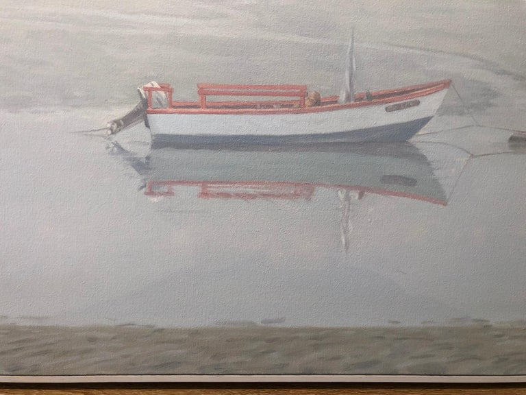 Waiting for Sophia / gentle soft cool blue grey scene with boat in fog  - Gray Landscape Painting by Willard Dixon