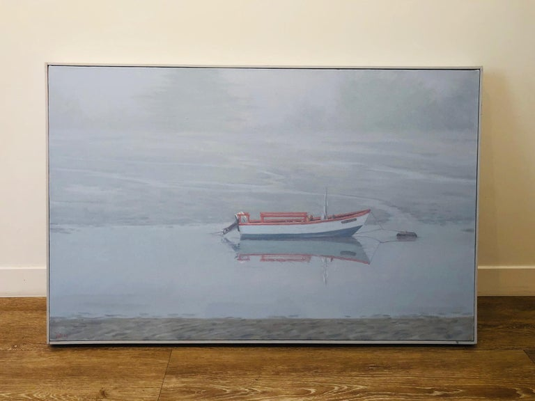 Waiting for Sophia / gentle soft cool blue grey scene with boat in fog  For Sale 2