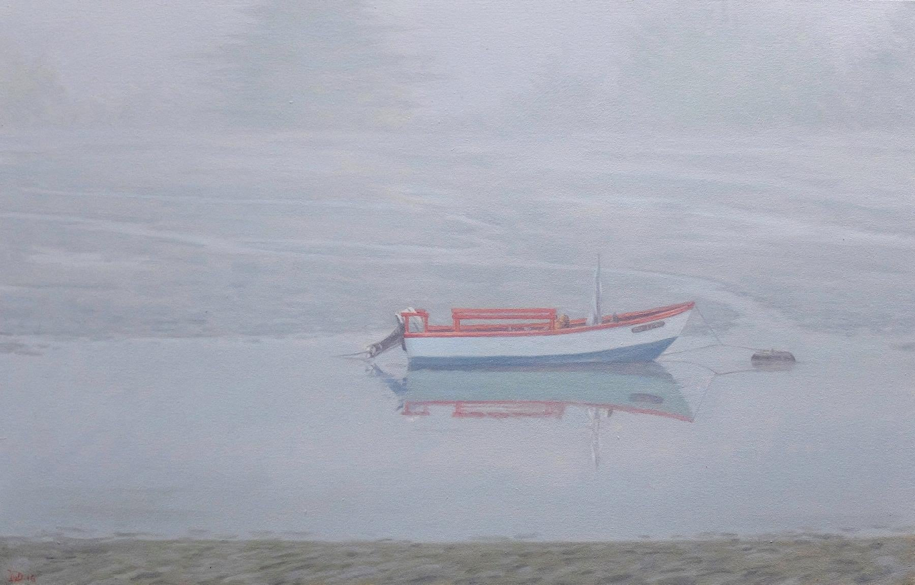 Waiting for Sophia / gentle soft cool blue grey scene with boat in fog
