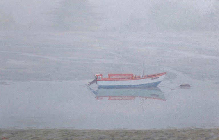 Willard Dixon Landscape Painting - Waiting for Sophia / gentle soft cool blue grey scene with boat in fog