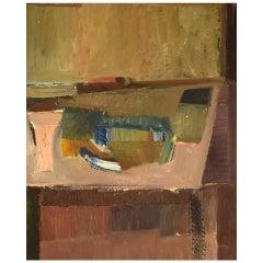 Willard Lindh, Sweden, Modernist Still Life, Oil on Canvas, 1960s