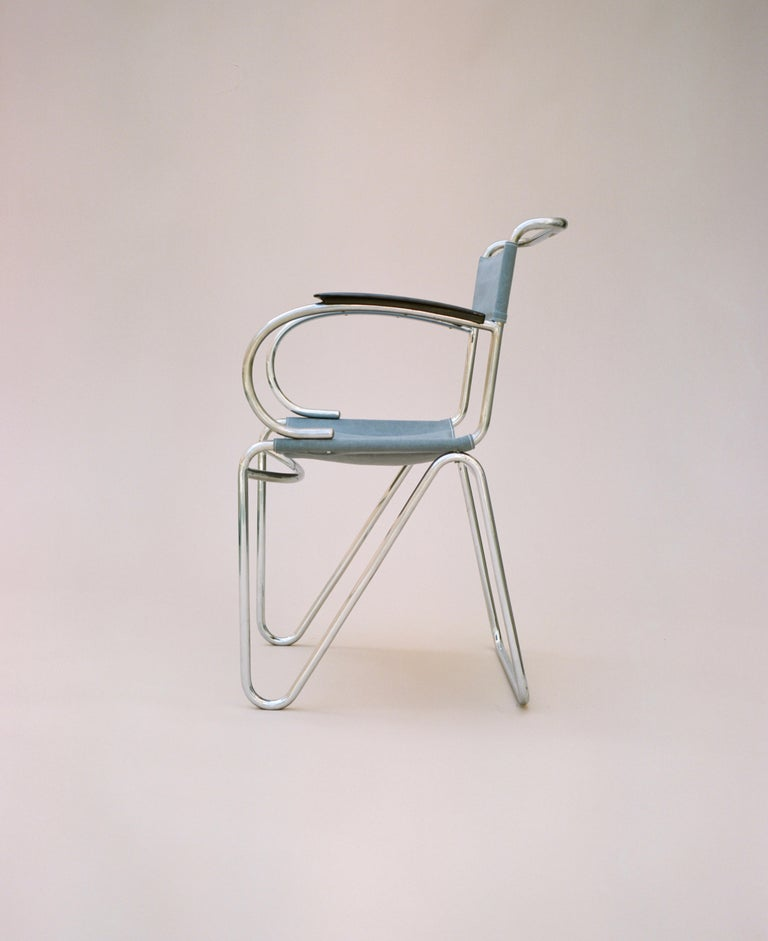 Bauhaus Willem Hendrik Gispen, Rare Diagonal Chair Variant, circa 1930 For Sale