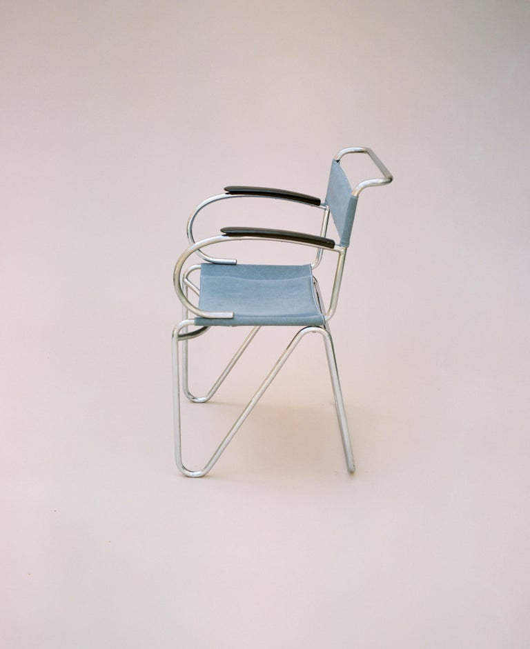 Dutch Willem Hendrik Gispen, Rare Diagonal Chair Variant, circa 1930 For Sale